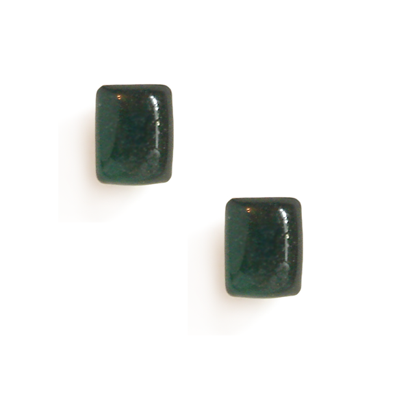 evergreen resin filled sterling silver rectangle stud earrings by Kate and Moose