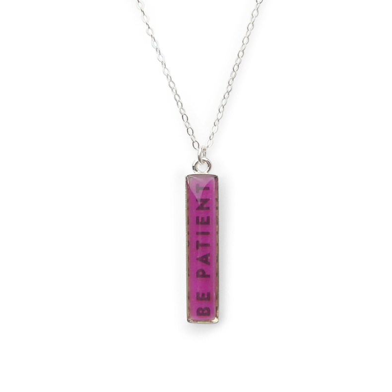be patient magenta bar necklace with sterling silver chain by Kate and Moose