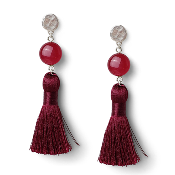 Dark Fuchsia Sterling Silver Tassel Earrings