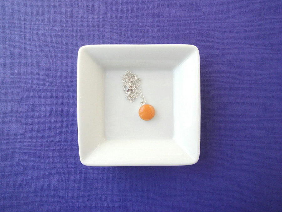 Georgie Peach Orange Resin Necklace with Sterling Silver Chain