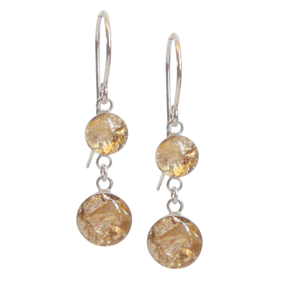 gold flake dangle earrings, gold flake drop earrings