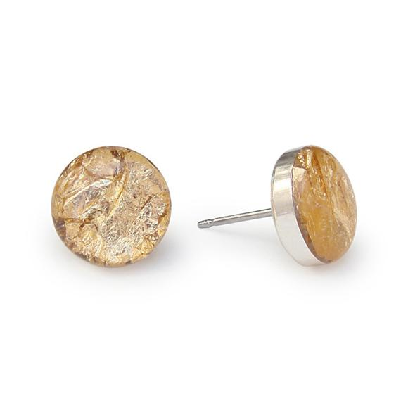 large gold flake stud earrings by Kate and Moose