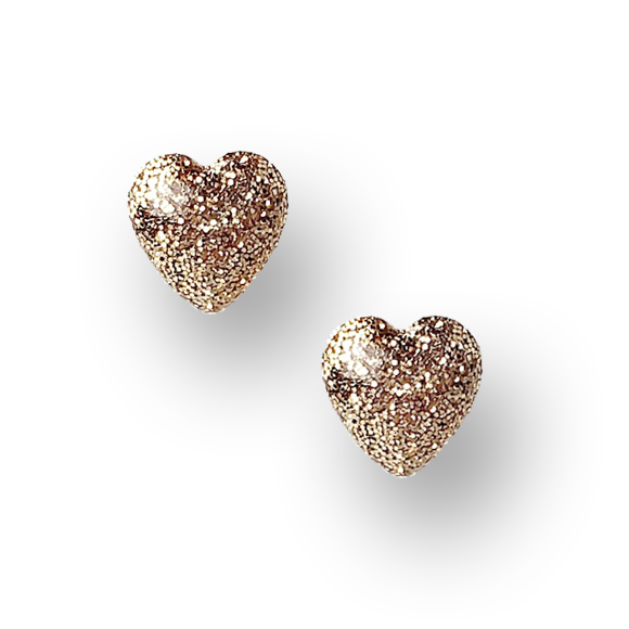 gold glitter sterling silver heart stud earrings by Kate and Moose