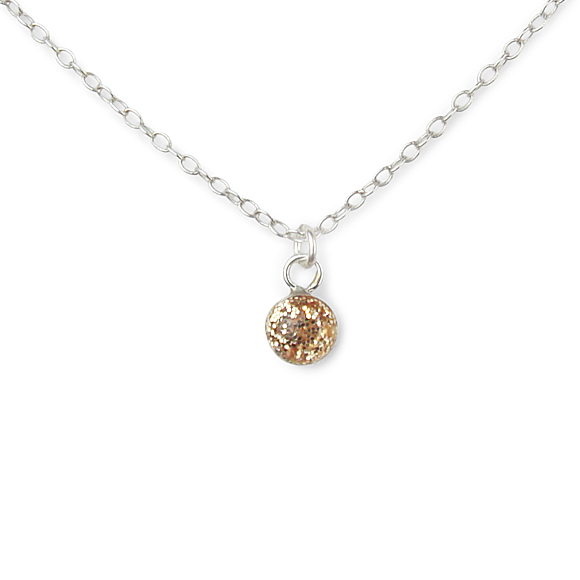 gold glitter tiny confetto sterling silver necklace by Kate and Moose