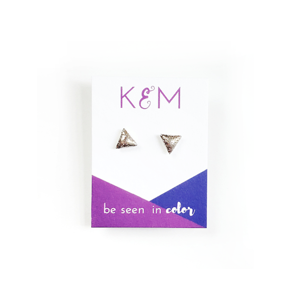 gold glitter triangle stud earrings by Kate and Moose