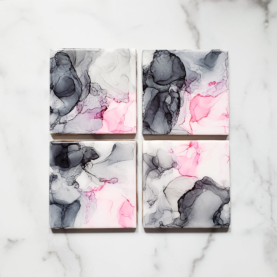 full set of shades of gray and pink alcohol ink on ceramic coasters
