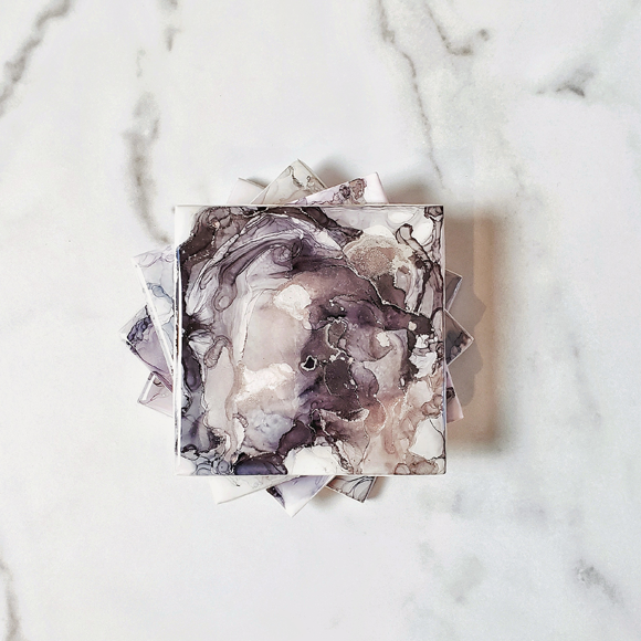 Shade of Gray and Rose Gold Ceramic Coasters
