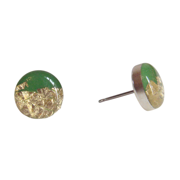 kelly green with gold leaf stud earrings by Kate and Moose