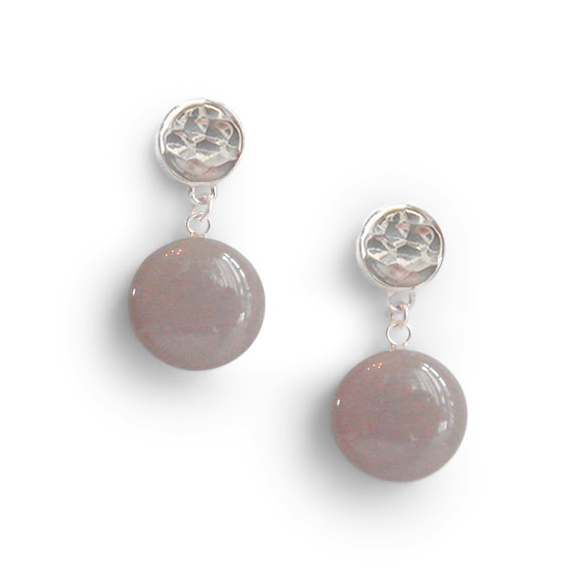 greige single dangle earrings by Kate and Moose