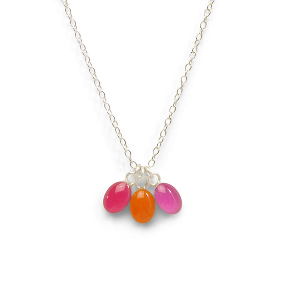 dahlia inspired sterling silver oval confetti party necklace by Kate and Moose