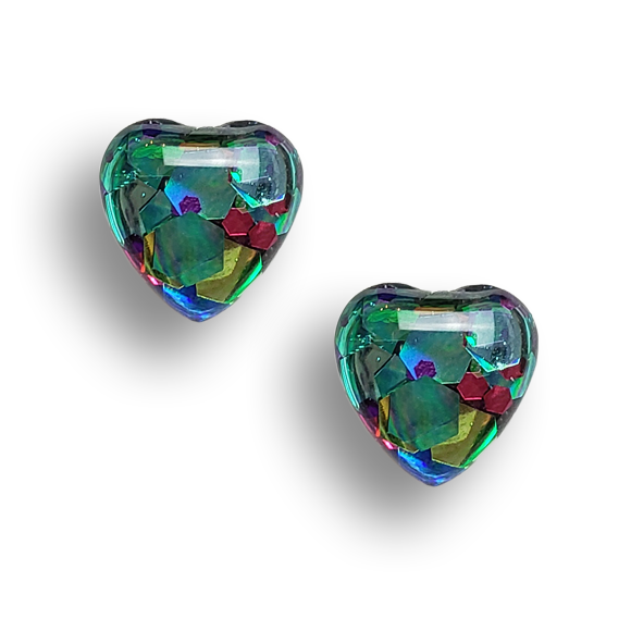 holiday glitter sterling silver heart stud earrings by Kate and Moose