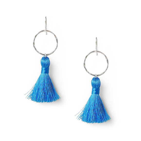 icicle blue and hammered sterling silver tassel earrings by Kate and Moose