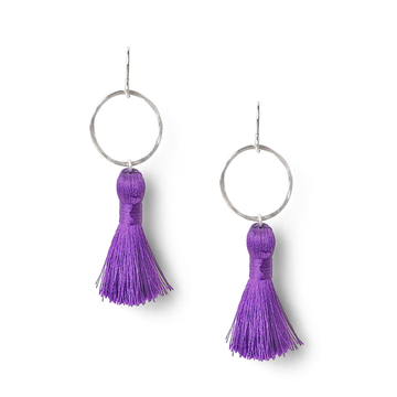 iris purple and hammered sterling silver tassel earrings by Kate and Moose