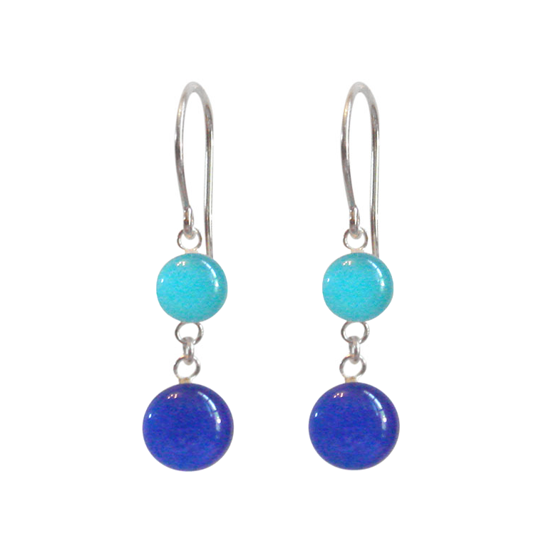 Island Blue Waters and Azure Blue Sterling Silver Dangle Earrings