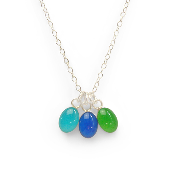 amalfi coast inspired island water blue, azure blue, and emerald green confetti party necklace in sterling silver by Kate and Moose