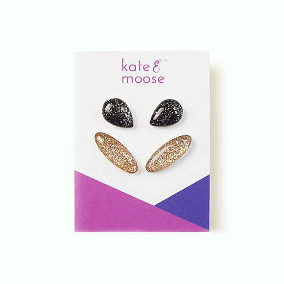 Black Glitter Teardrop Sterling Silver Stud Earrings and Gold Glitter Ear Crawler Sterling Silver Stud Earring