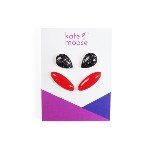 black and silver glitter teardrop sterling silver stud earrings and holiday red ear crawler sterling silver stud earring gift set by Kate and Moose
