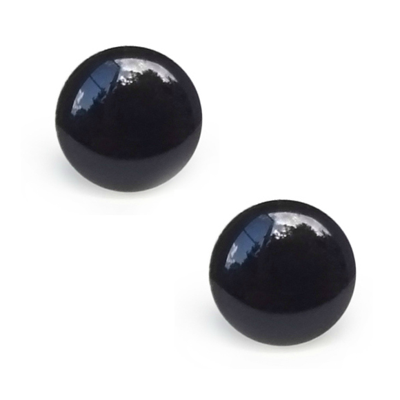 black resin filled sterling silver large circle stud earrings by Kate and Moose