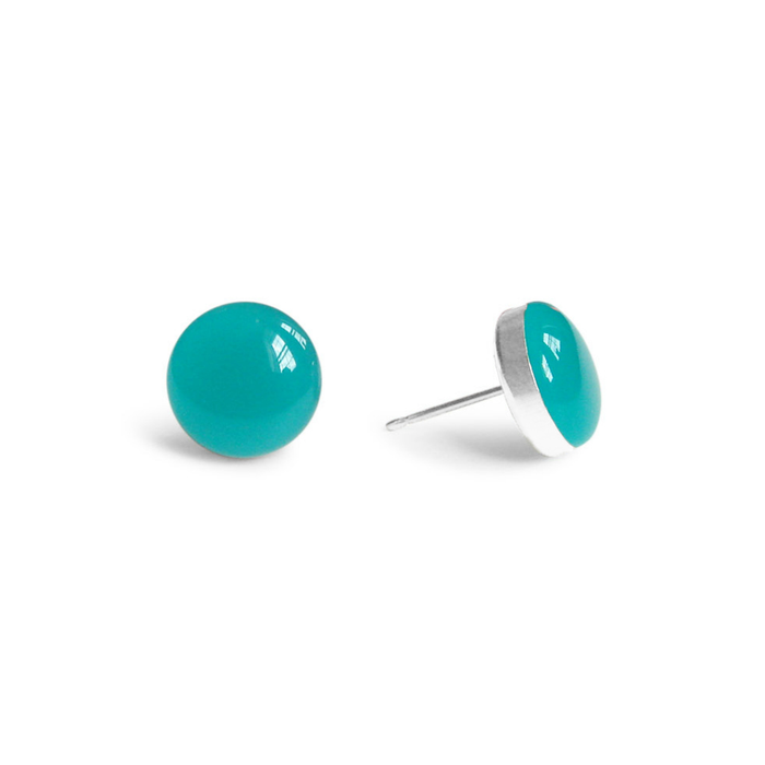 large pacific coast green resin stud earrings by Kate and Moose
