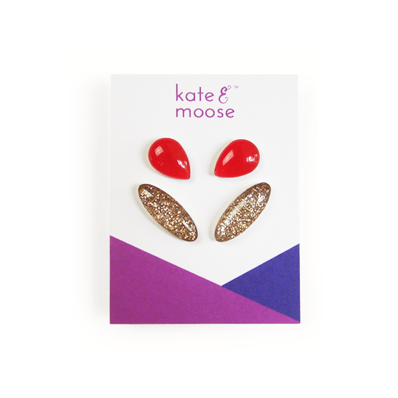 Gold Glitter Earcrawler Sterling Silver Stud Earrings and Holiday Red Teardrop Sterling Silver Stud Earring Gift Set by Kate and Moose