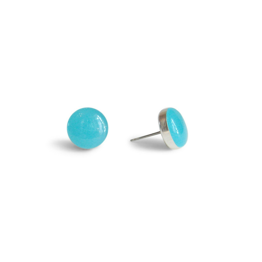 small island water blue resin stud earrings by Kate and Moose