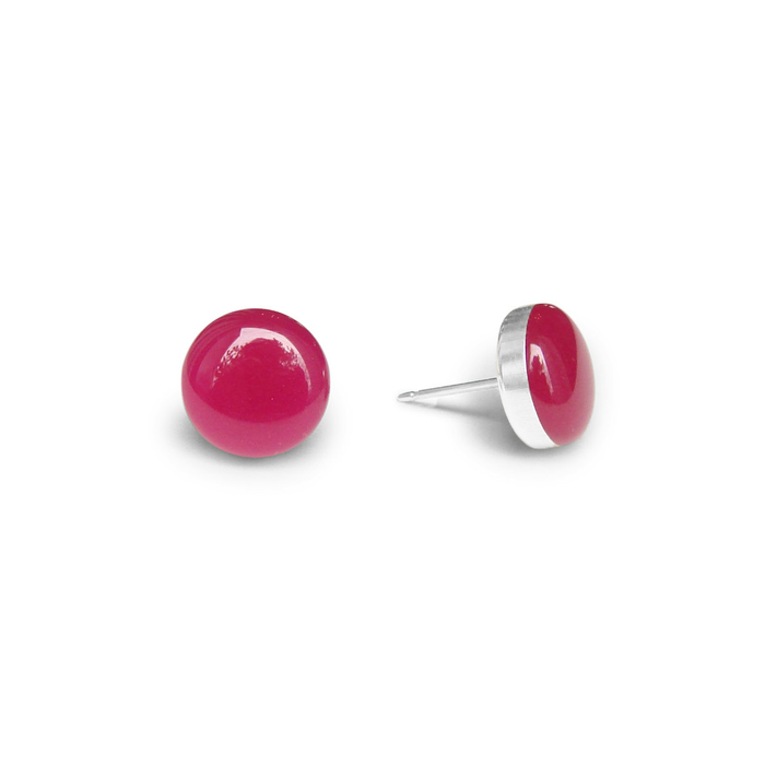 large raspberry gelato resin stud earrings by Kate and Moose