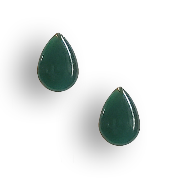 evergreen resin filled sterling silver teardrop stud earrings by Kate and Moose