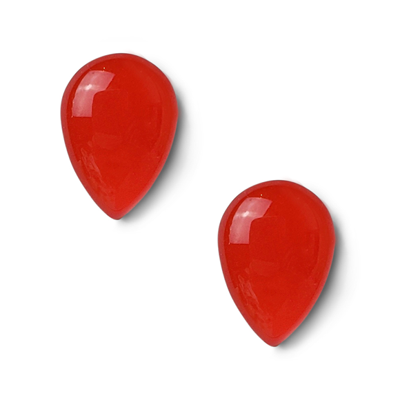 Candy Red Resin Sterling Silver Stud Earrings