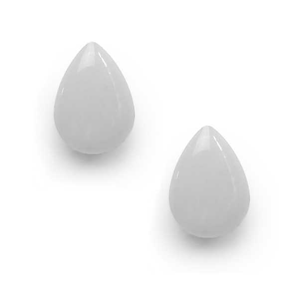 light gray resin filled sterling silver large tear drop stud earrings by Kate and Moose