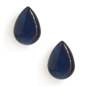 navy blue resin filled sterling silver large tear drop stud earrings by Kate and Moose