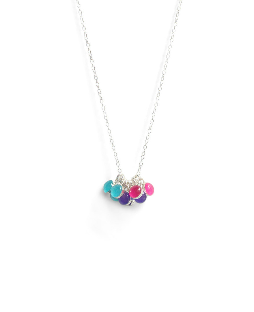 Lavendula, Island Water Blue, and Hibiscus Pink Tiny Circle Resin Necklace by Kate and Moose