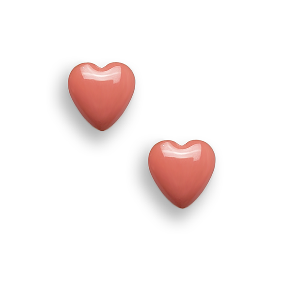 living coral resin filled sterling silver heart stud earrings by Kate and Moose