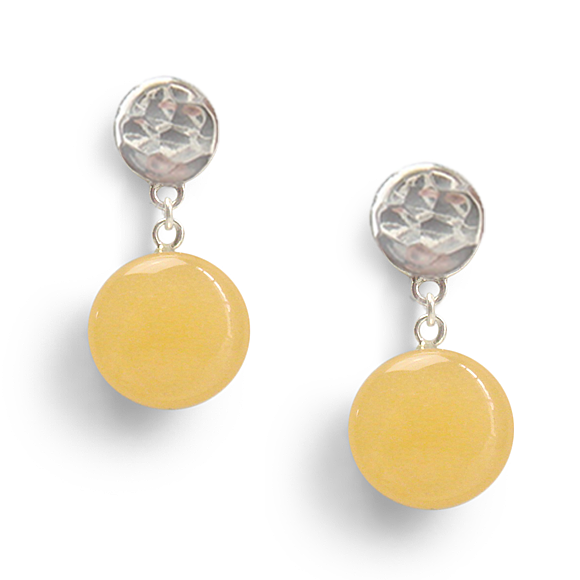 Soft Yellow Confetto Hammered Sterling Silver Drop Earrings