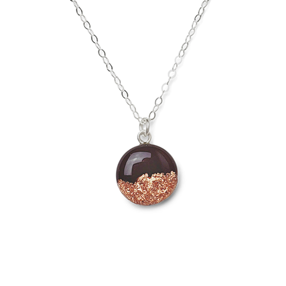 Merlot Purple and Rose Gold Flake Necklace