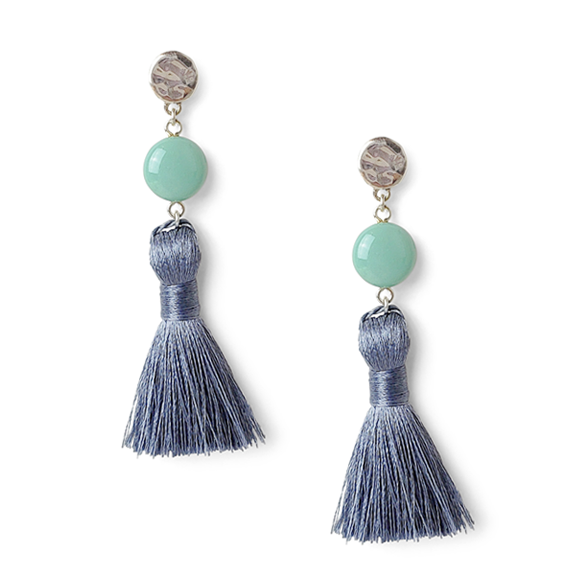 Mint Green with Blue Gray Tassel Earrings