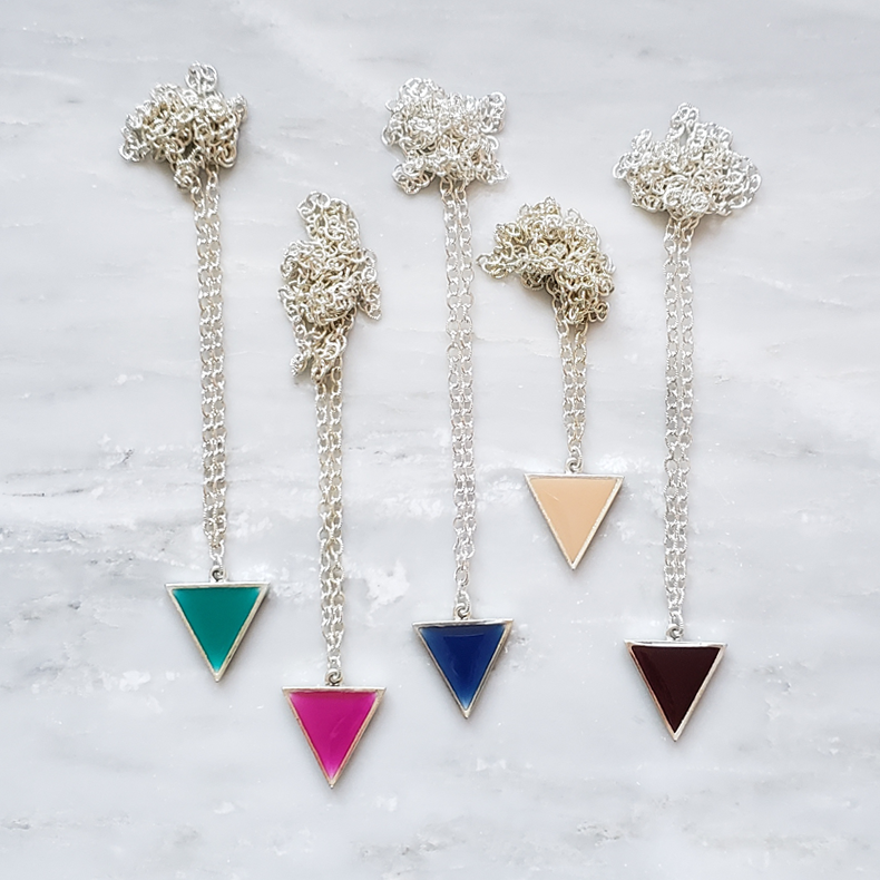 Make Your Point - Nude Triangle Statement Necklace