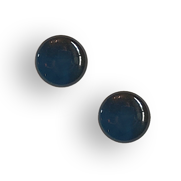 navy blue resin filled sterling silver large circle stud earrings by Kate and Moose