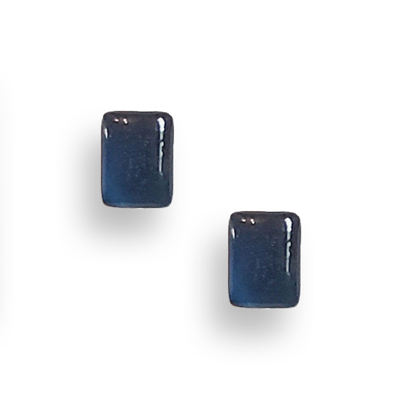 navy blue resin filled sterling silver rectangle stud earrings by Kate and Moose