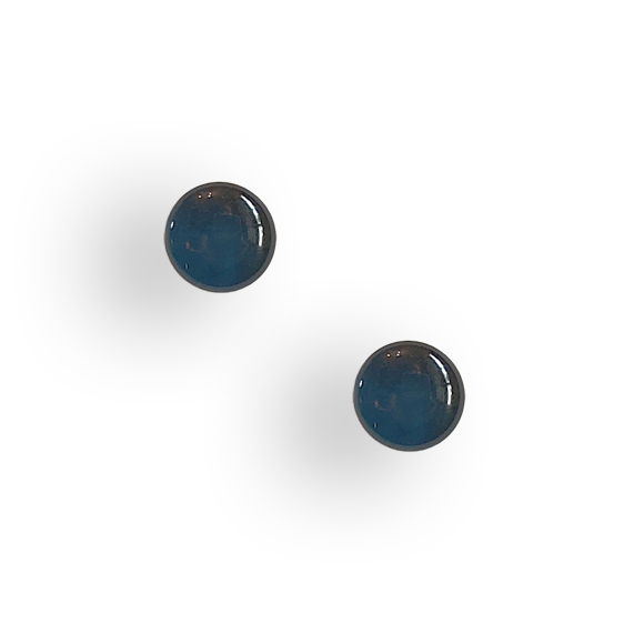 navy blue resin filled sterling silver small circle stud earrings by Kate and Moose