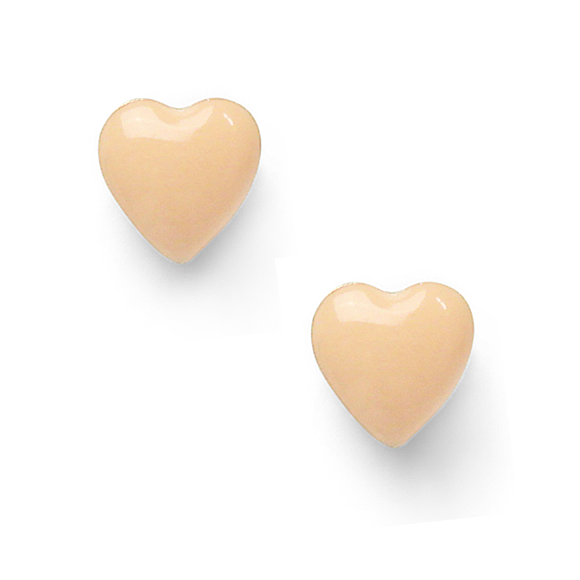 neutral nude small sterling silver heart stud earrings by Kate and Moose