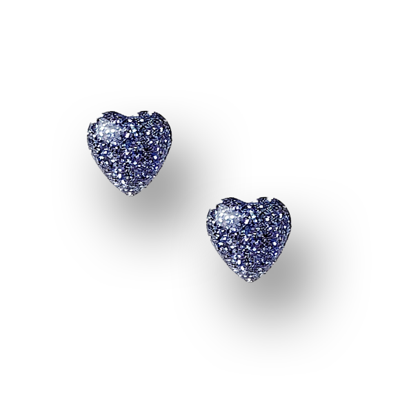 ocean blue glitter embedded sterling silver heart stud earrings by Kate and Moose