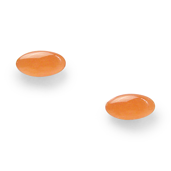 Soft Orange Glitter Mini Oval Stud Earrings
