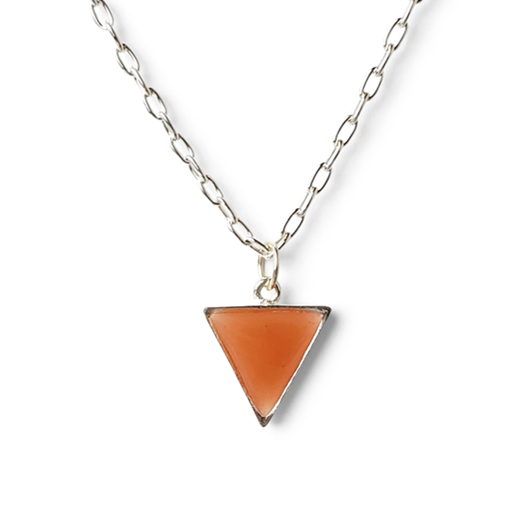 orange pewter and fine silver triangle necklace by Kate and Moose