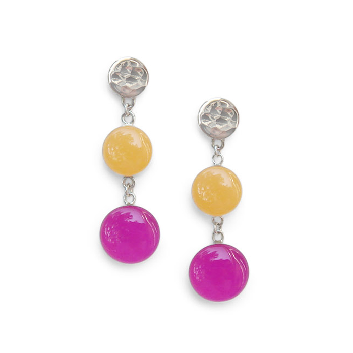 pale peach and vivid violet dangle earrings by Kate and Moose