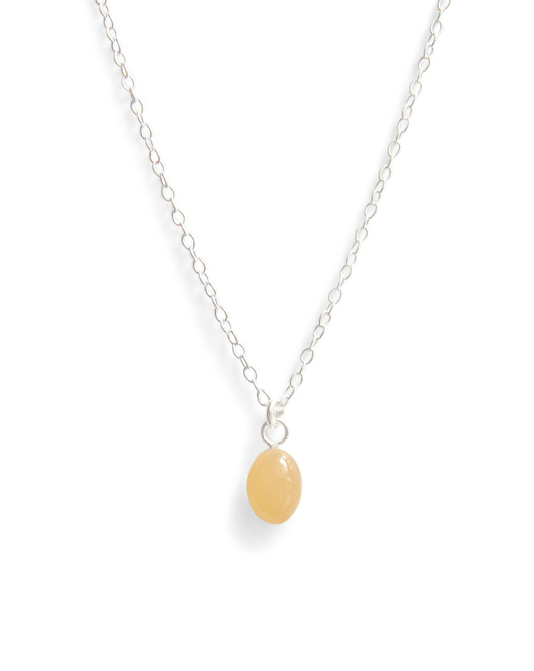 pale peach tiny oval resin necklace by Kate and Moose
