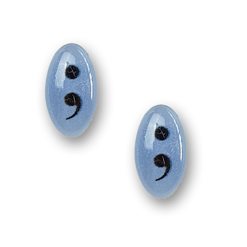 periwinkle blue semicolon sterling silver stud earrings by Kate and Moose
