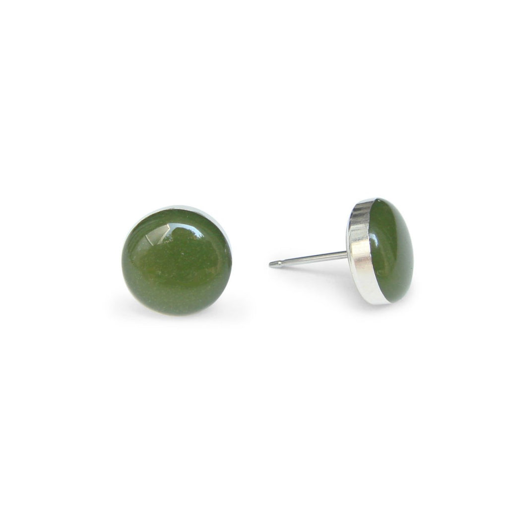 large pine tree green stud earrings by Kate and Moose