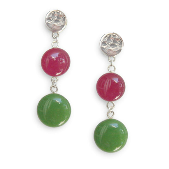 pink and green dangle earrings by Kate and Moose