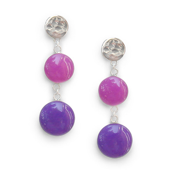 Pink and Iris Purple Sterling Silver Dangle Earrings