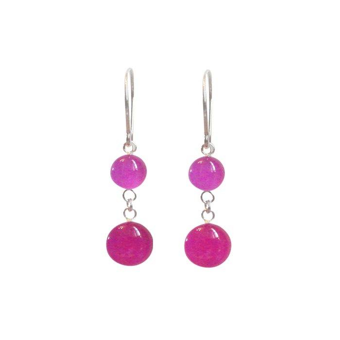 Vivid Violet and Hibiscus Pink Sterling Silver Dangle Earrings